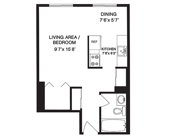 Downtown prince 39 s island place bachelor 250 square foot apartment floor plan